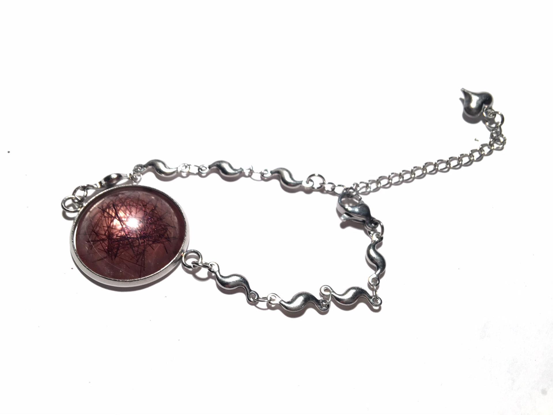 Bracelet cabochon avec inclusion poils de chien