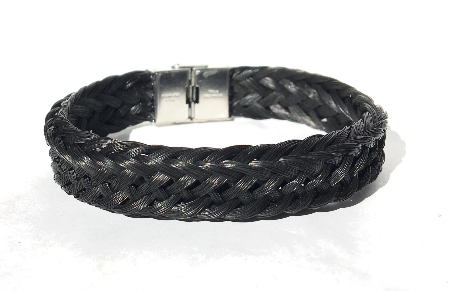 Bracelet tressage osier et fermoir plat acier inoxydable