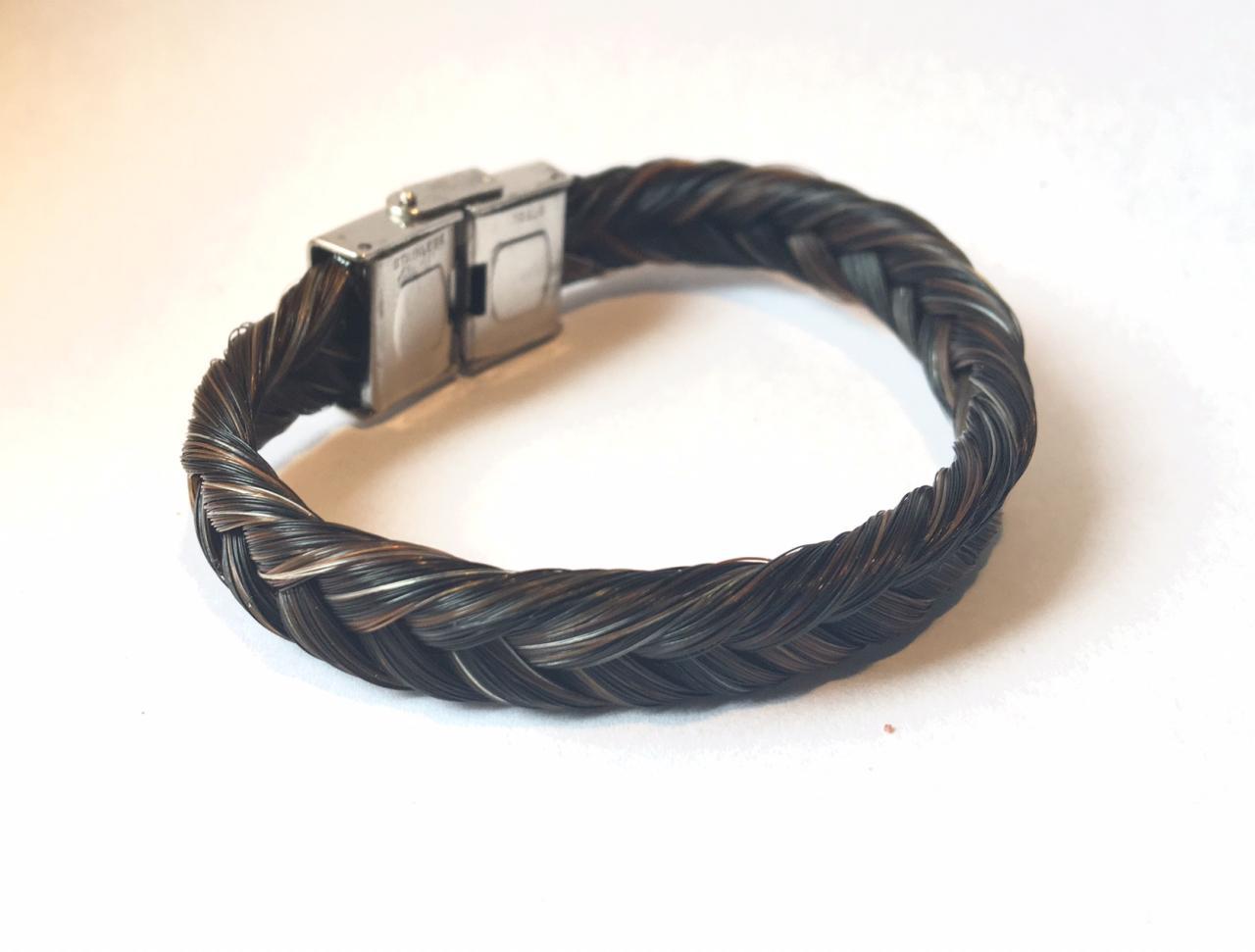 Bracelet en crins de cheval fermoir large en acier inoxydable tressage épi