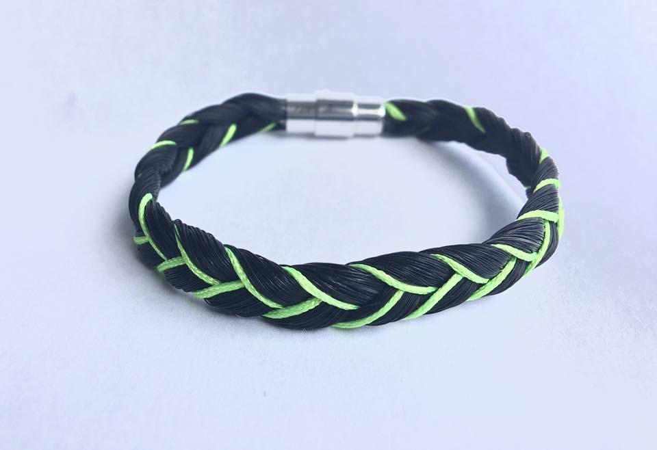 Bracelet en crins de cheval avec couleur vert pomme