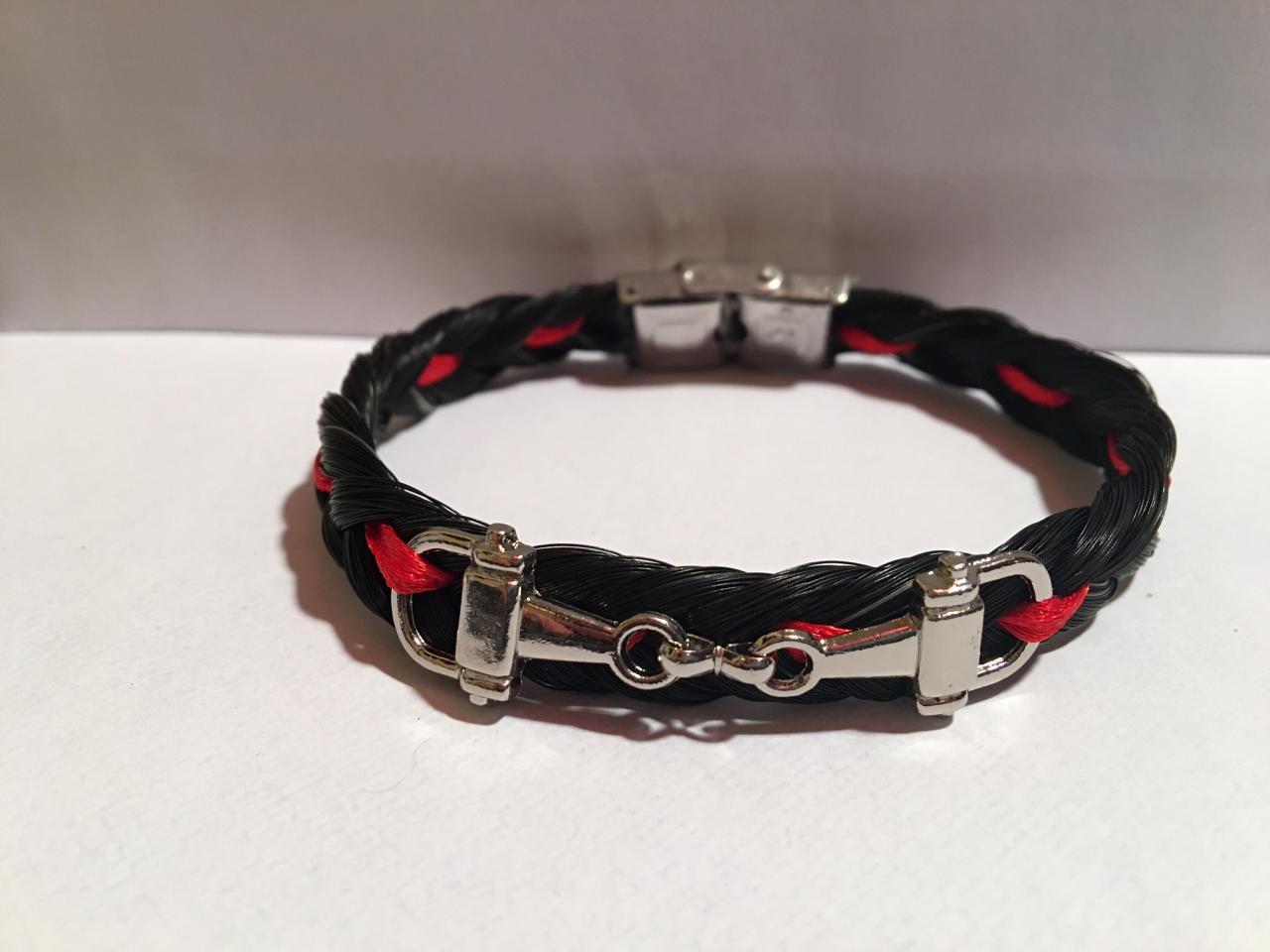 Bracelet en crins de cheval mors verdun, coloré en rouge