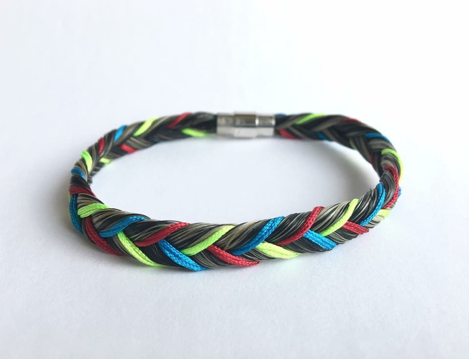Bracelet en crins de cheval multicolore