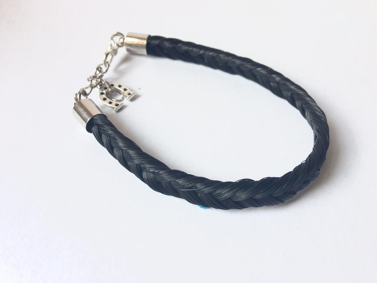 Bracelet en crins de cheval noir