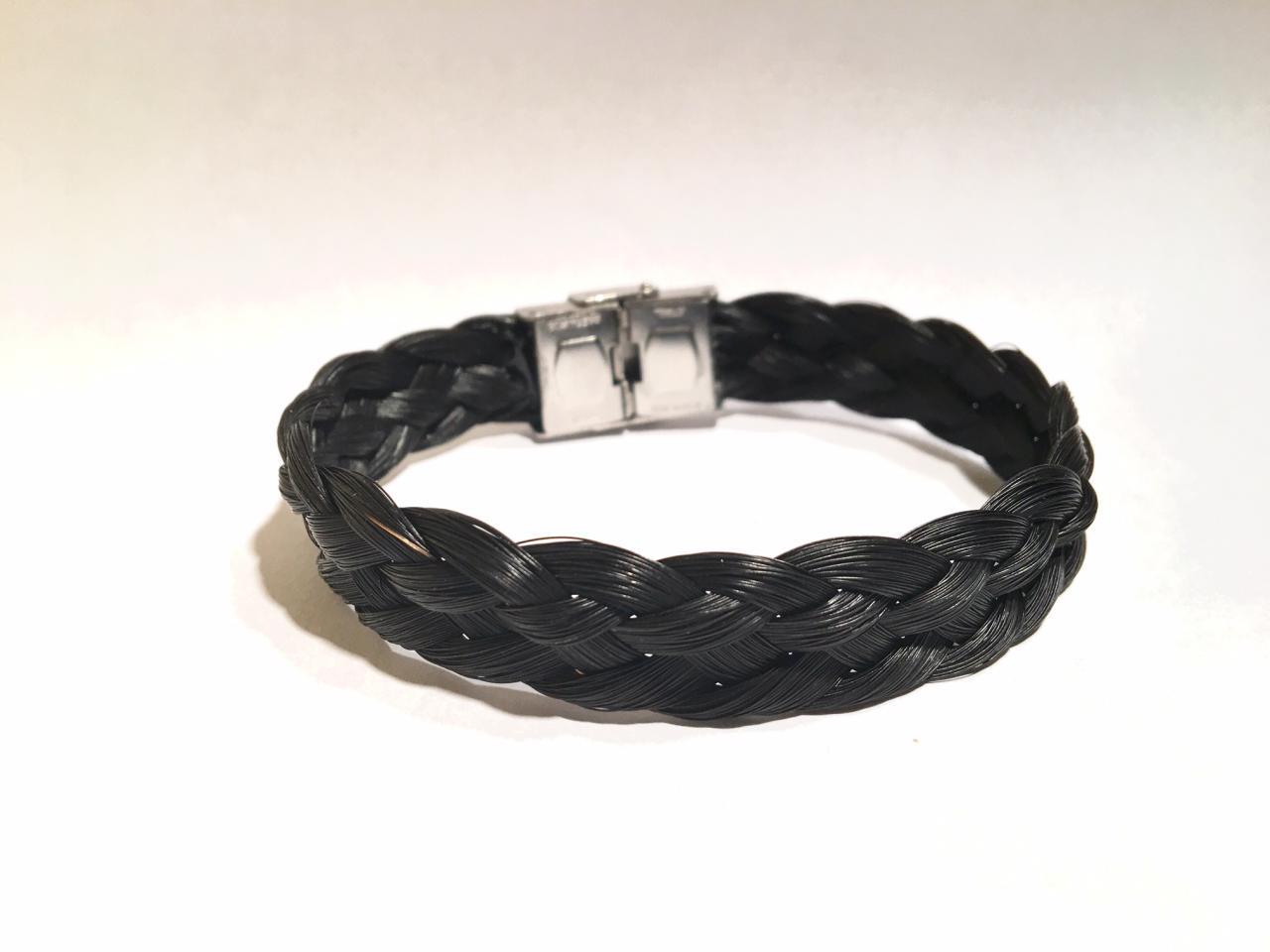 Bracelet en crins de cheval noir, acier inoxydable, idéal homme large