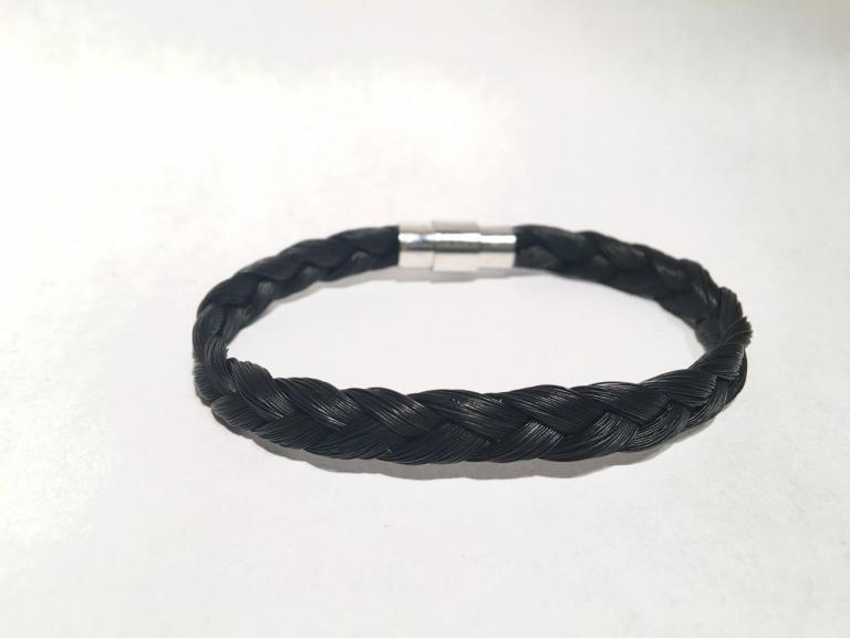 Bracelet en crins de cheval noir simple