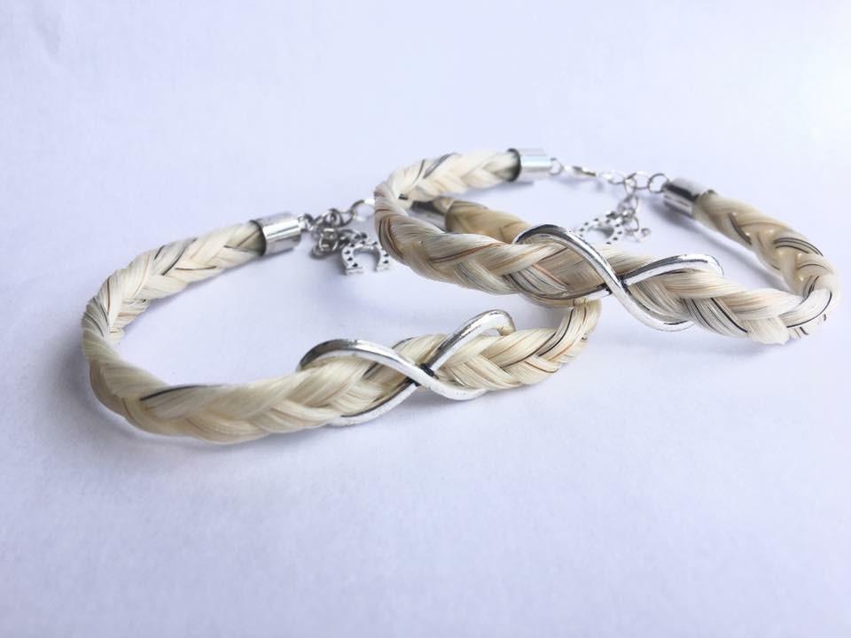 Bracelets en crins de cheval avec signe infini