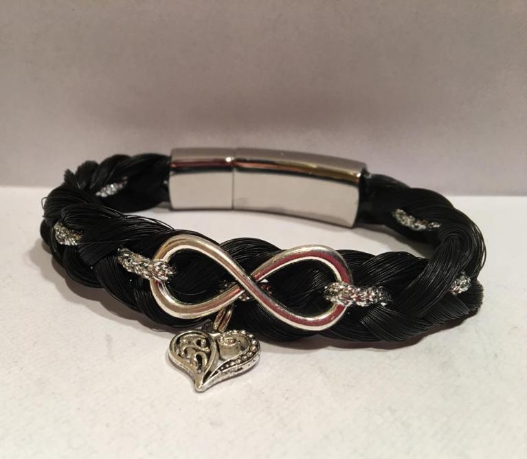 Bracelet tressage en huit couleur noir / argent