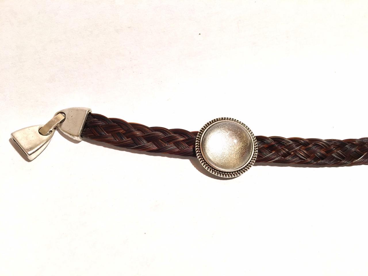 Bracelet cabochon coulissant avec crins et poils d'animaux ou photo