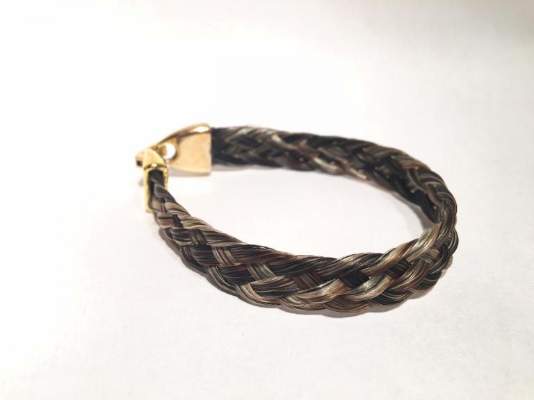 Bracelet en crins de cheval large avec fermoir couleur or doré