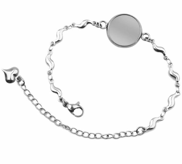 Bracelet creation crins cheval cabochon chien chat eclair acier chainette femme