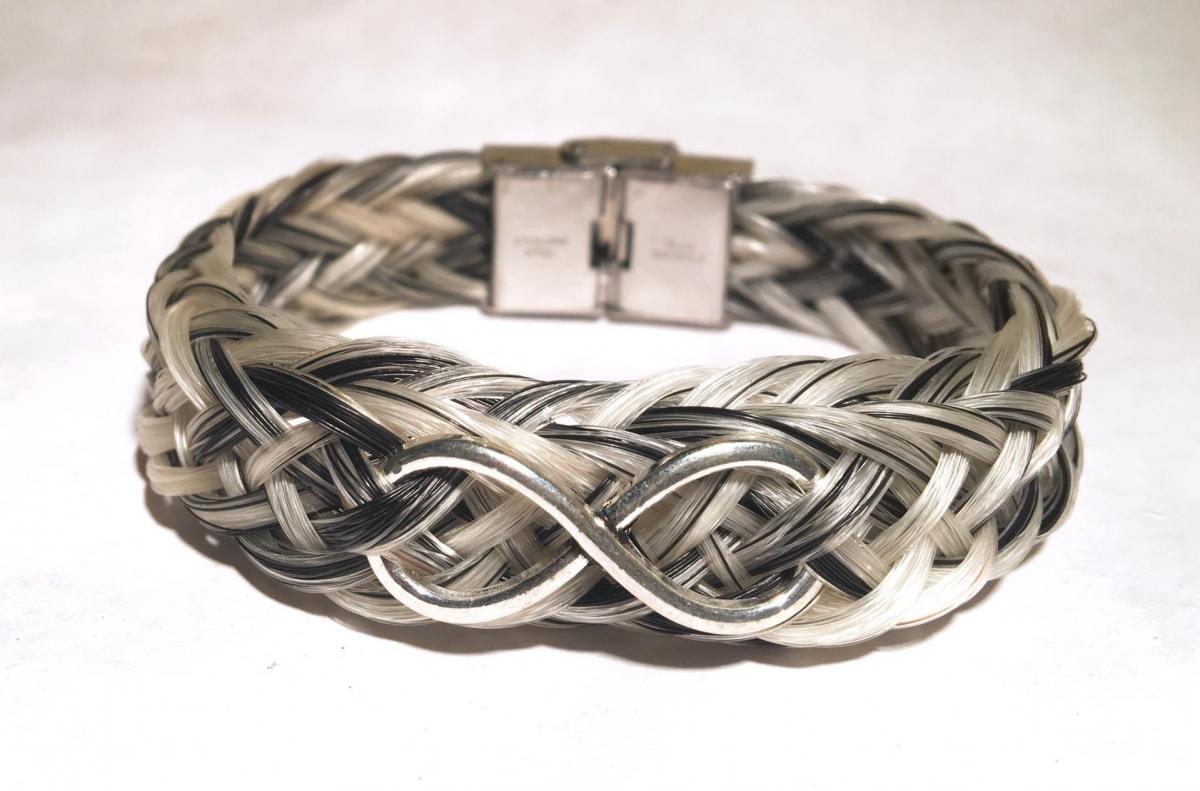 Bracelet creation crins cheval osier infini solide large acier inoxydbale