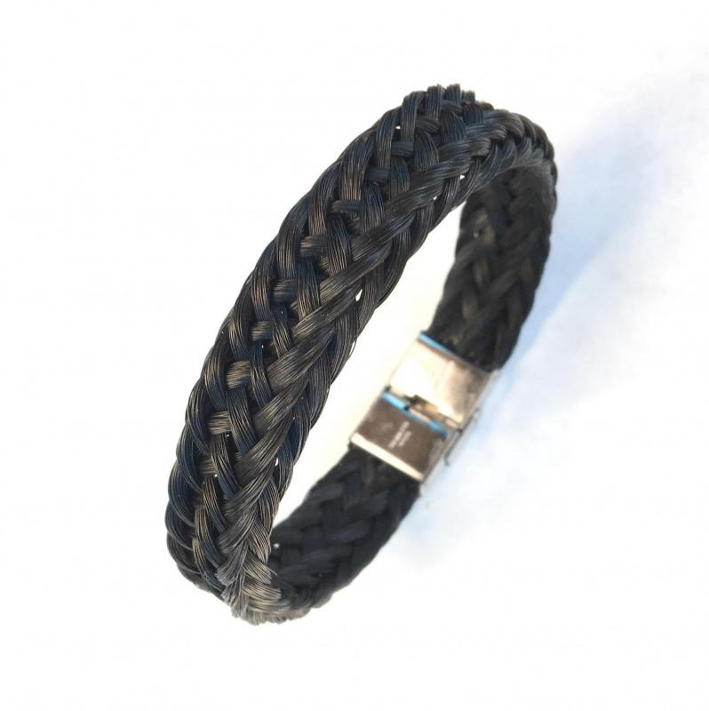 Bracelet creation crins cheval tressage osier homme large epais