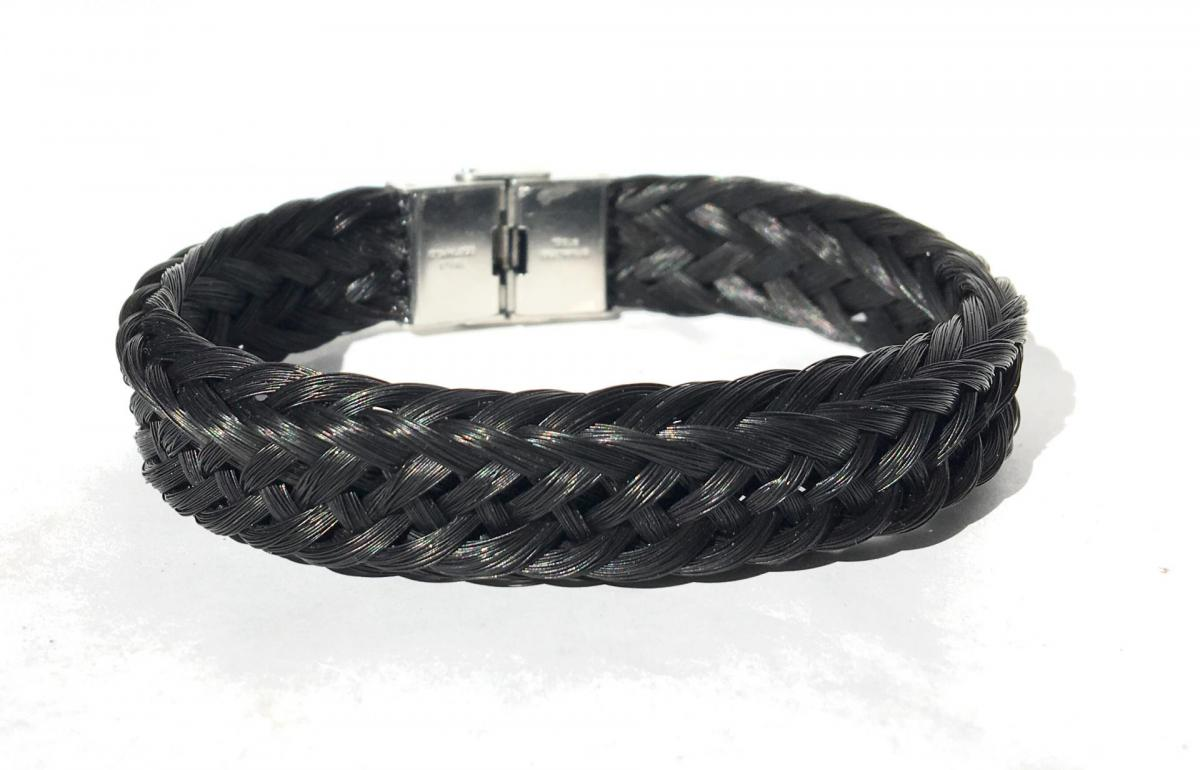 Bracelet creation crins cheval tressage osier large noir homme epais