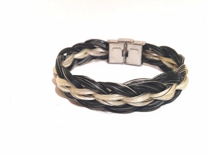 Creation crins bijoux cheval bracelet tressage huit complexe acier inoxydable blanc noir