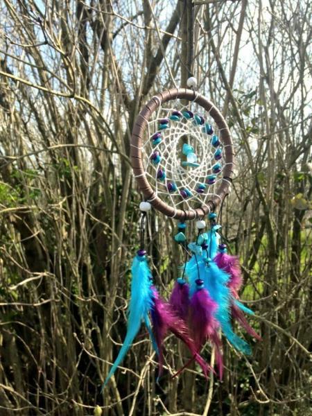 Creation crins cheval attrape reve bleu violet plume ficelle solide