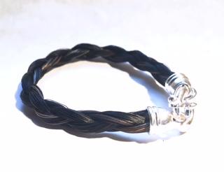 Creation crins cheval bijoux bracelet argent fermoir noir rond