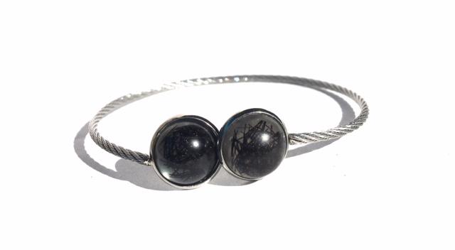 Creation crins cheval bijoux bracelet cabochon acier reglable cadeau