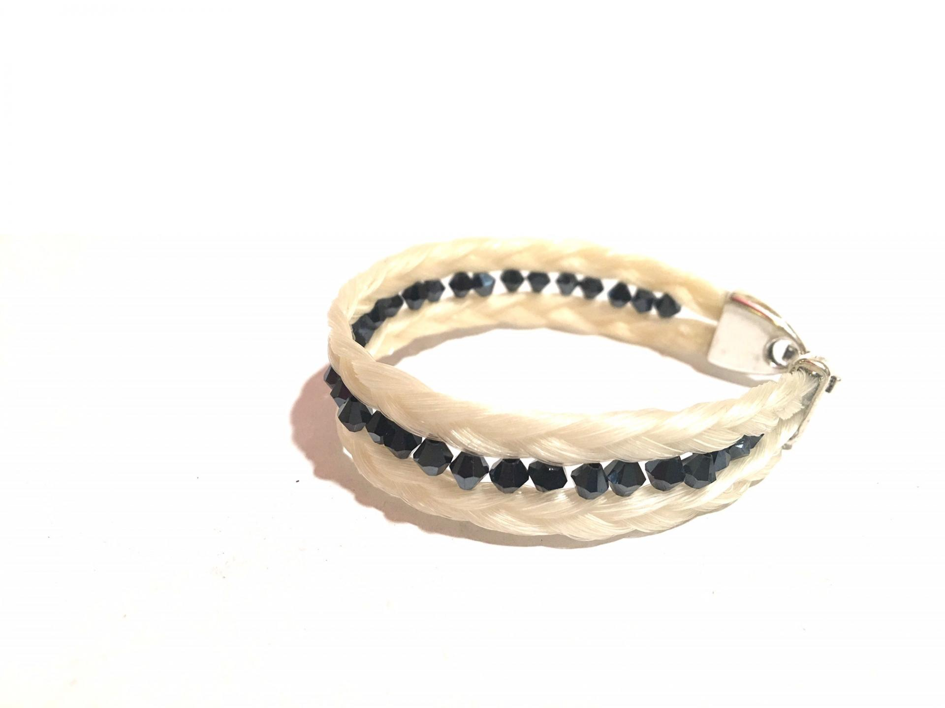 Creation crins cheval bijoux bracelet perle swaroski noir fermoir argent plat montre