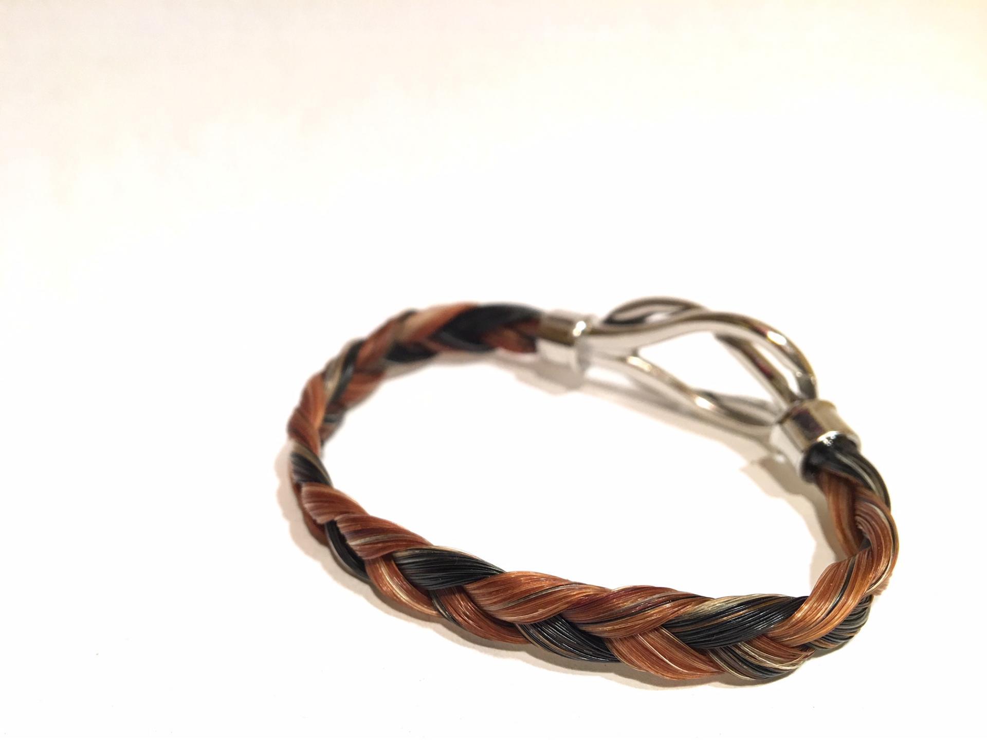 Creation crins cheval bracelet acier inoxydable infini alezan noir argent soiree