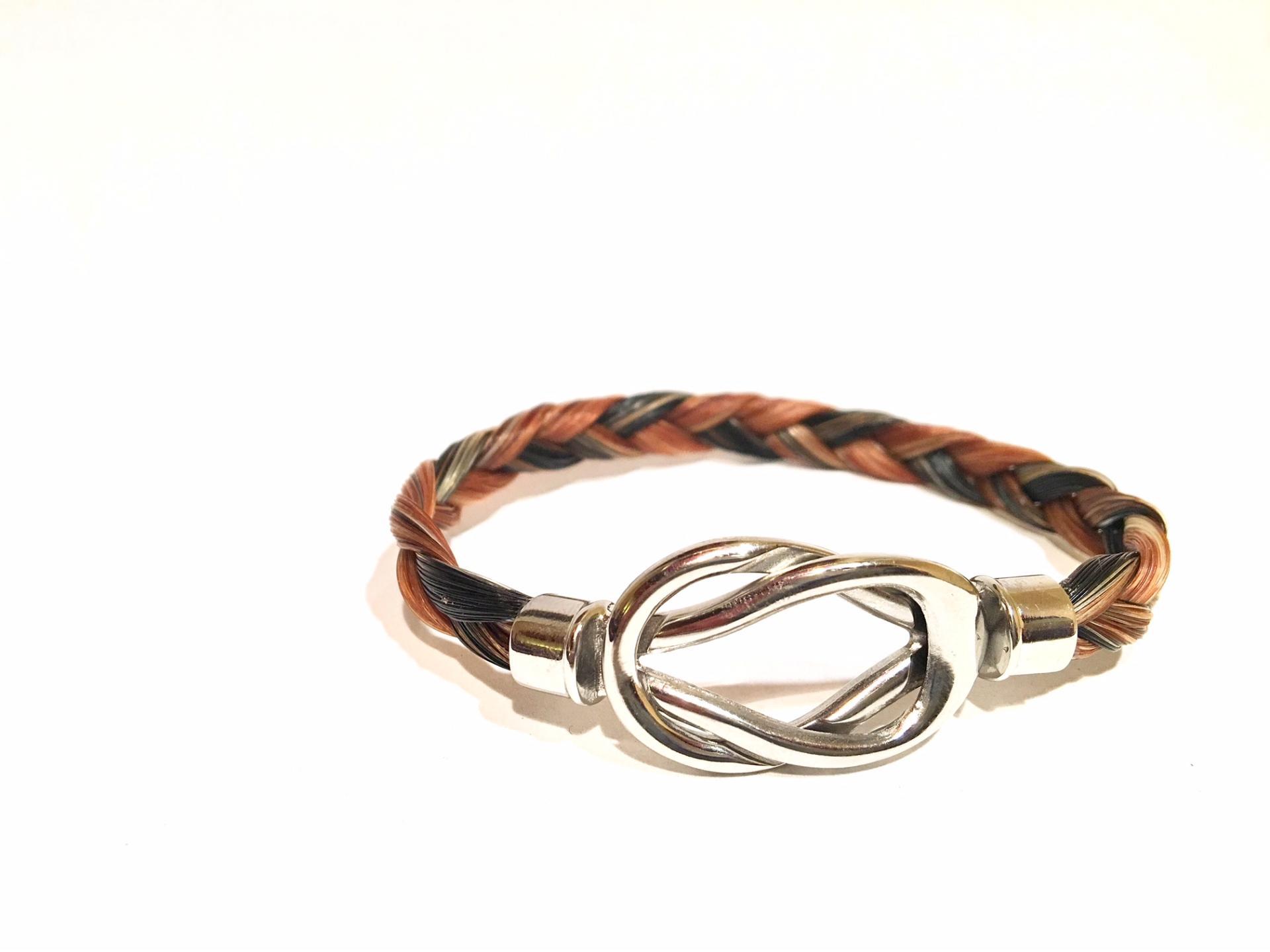 Creation crins cheval bracelet acier inoxydable infini anneau noeud boucle noir marron