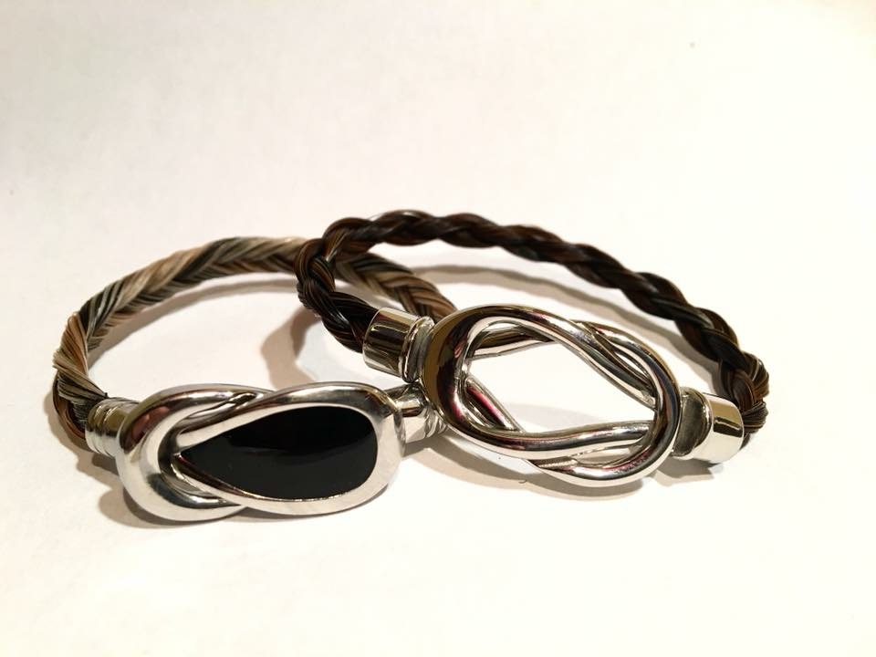 Creation crins cheval bracelet acier inoxydable infini noir brillant argent strass cheveux poney