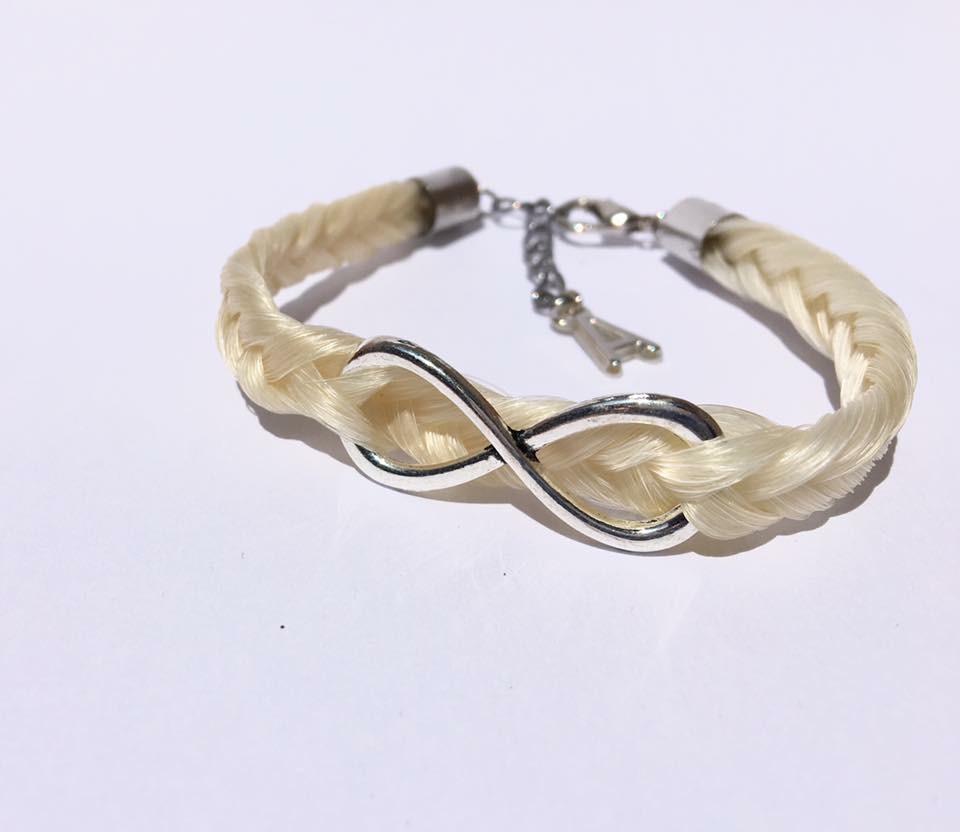 Creation crins cheval bracelet argent chainette blanc signe infini souvenir