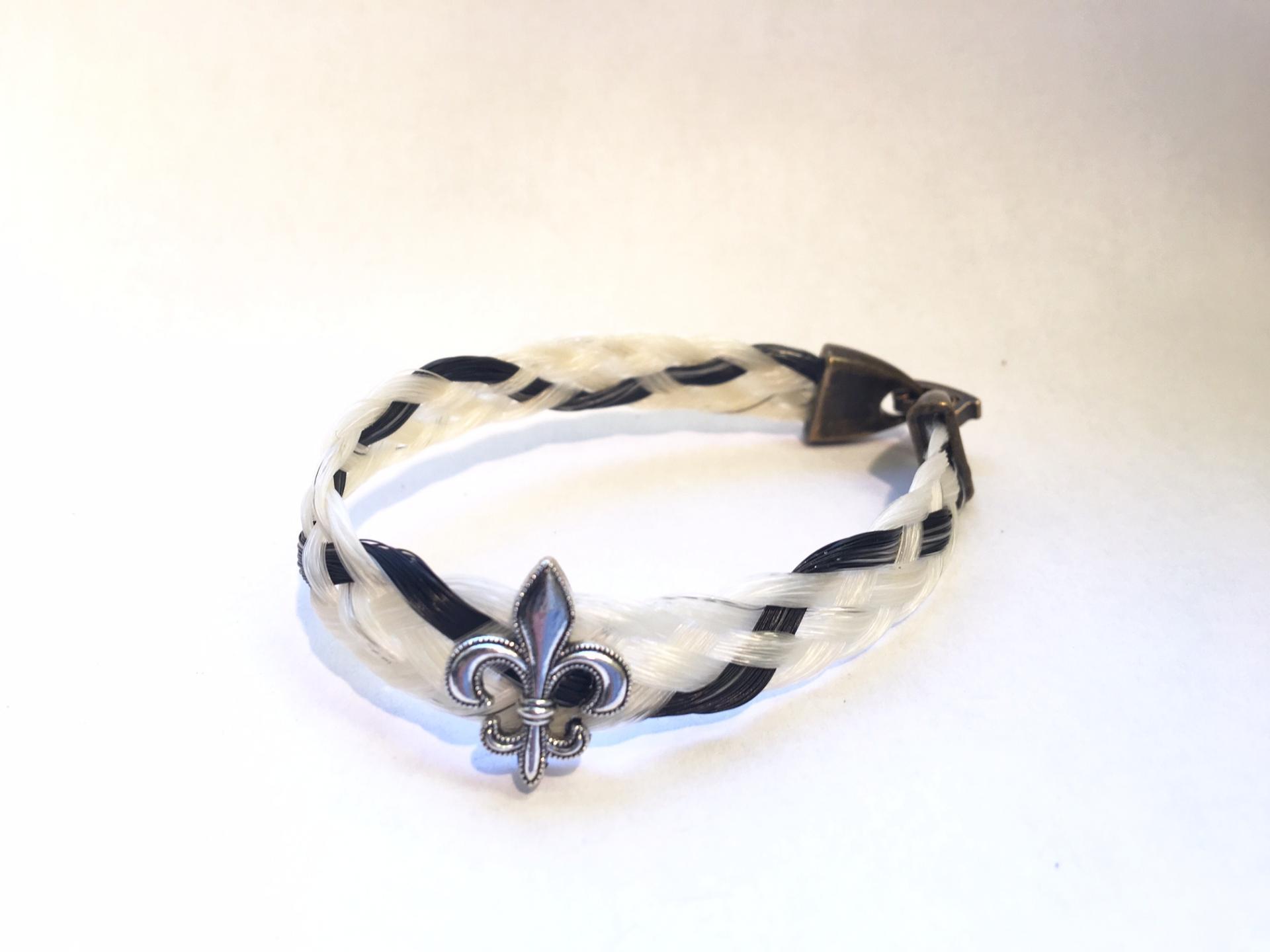Creation crins cheval bracelet blanc noir fleur de lys plat bronze argent