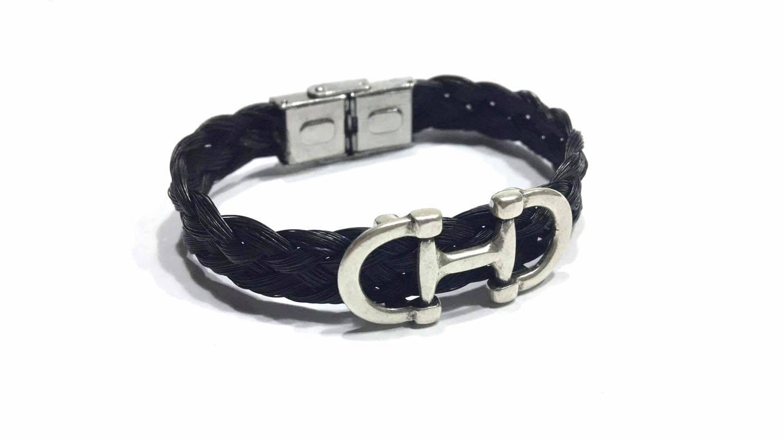 Creation crins cheval bracelet mors horse noir homme femme bijou bijoux animaux animal souvenir de ce s