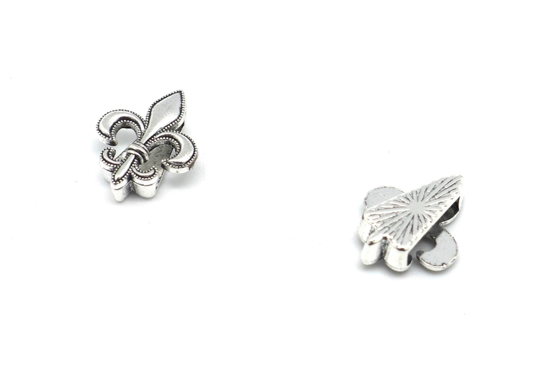Creation crins cheval bracelet perle fleur de lys passant connecteur argent solide