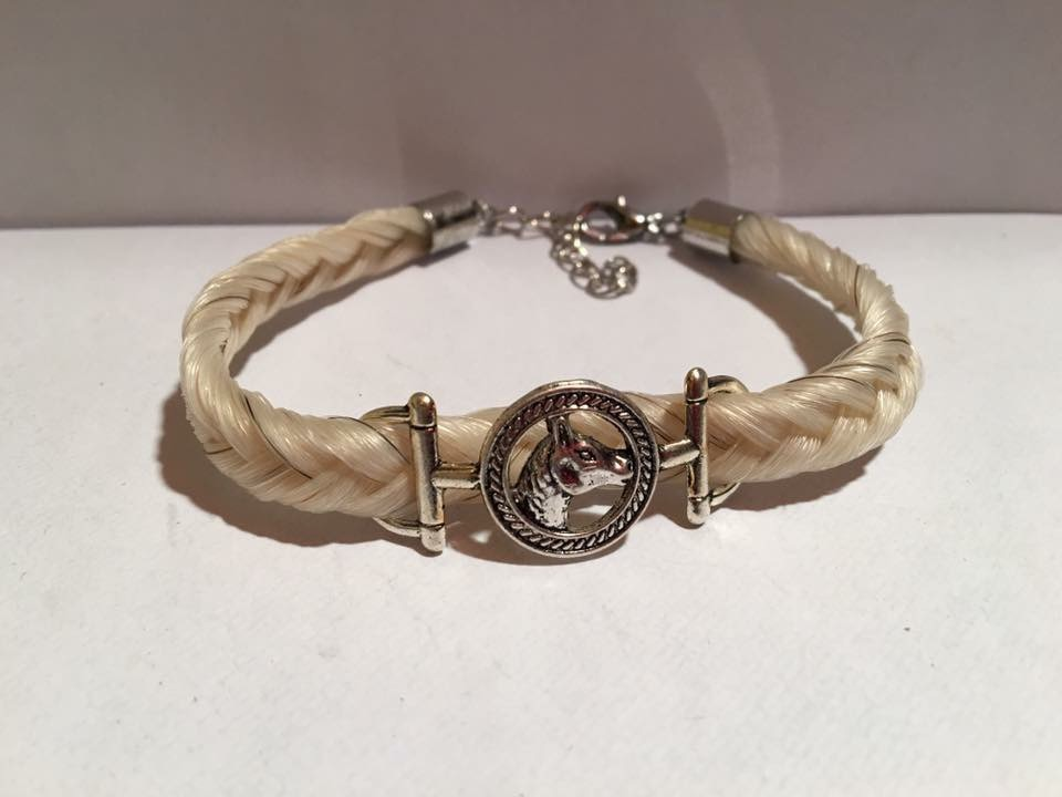 Creation crins cheval bracelet tete blanc epi chainette argent original sur mesure doux