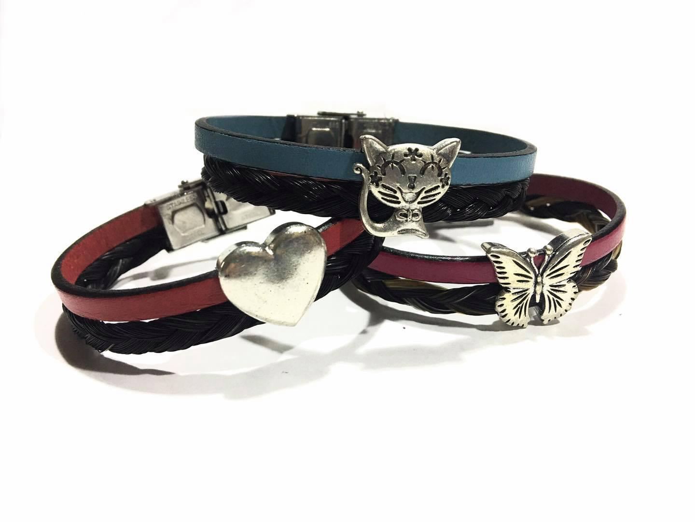 Bracelet crins cuir