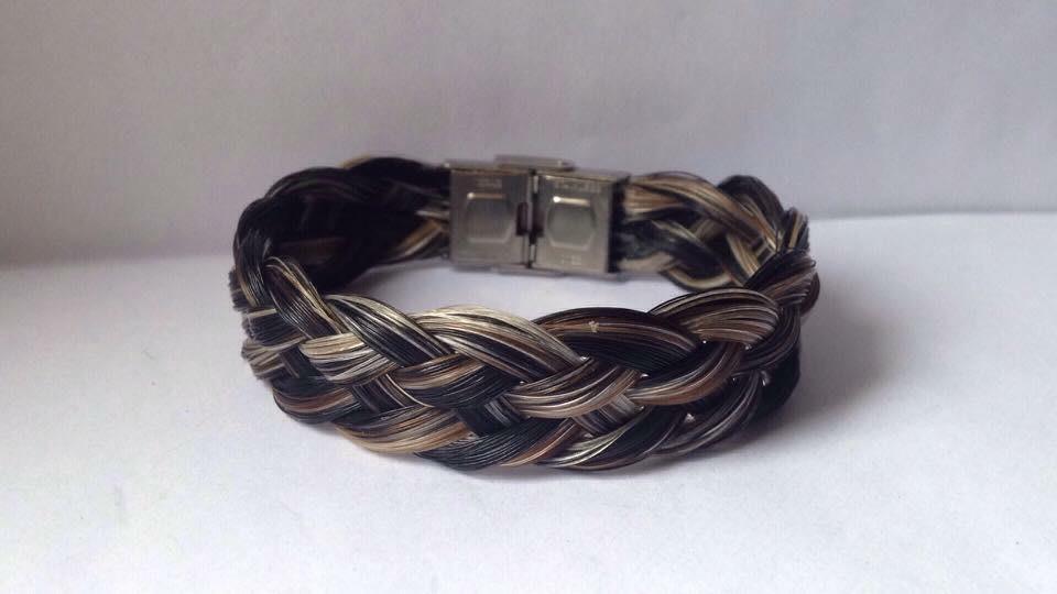 Bracelet en crins de cheval tressage plat et fermoir en acier inoxydable