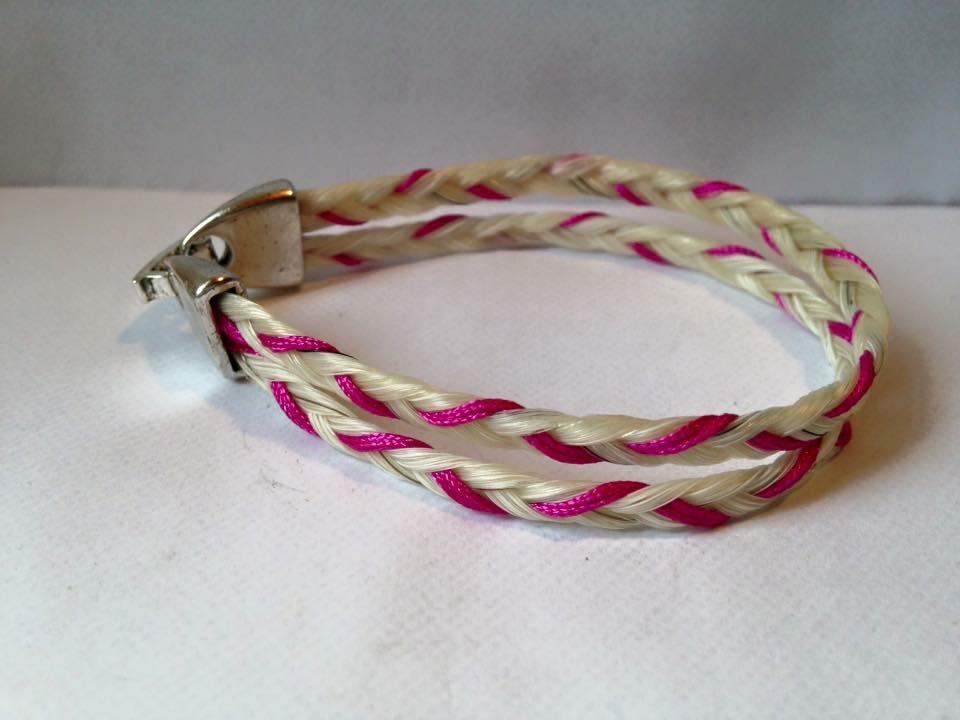 Bracelet en crins de cheval et double tresse fils coloré